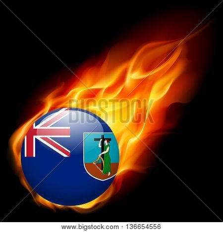A round badge in the colours of Montserrat island flag burning in flame