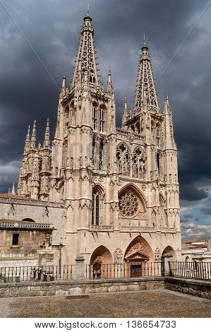 View of the Cathedral of Burgos, Castilla Leon, Spain