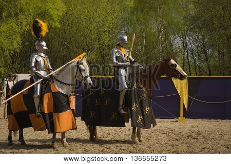 The Horse Knights In An Armour And In A Helmet With A Sword In A Hand