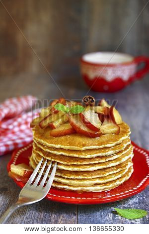 Pancakes With Caramelized Apple And Cinnamon.