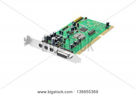 Old sound card for computer isolated on white background