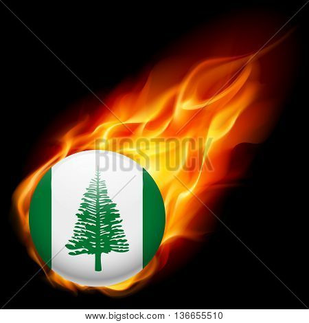 Flag of Norfolk Island as round glossy icon burning in flame