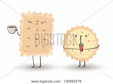 cute cartoon hand drawn funny cookies. They drink coffee or tea and juice . Friends at breakfast. Vector