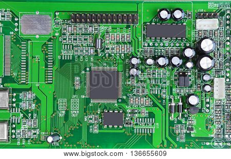 Printed computer motherboard with microcircuit close up