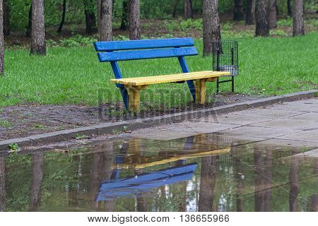 Yellow-blue bench in a park in rainy weather