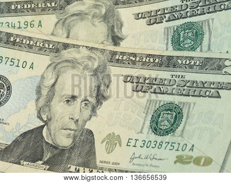US dollar banknotes - twenty-dollar bill featuring President Andrew Jackson (1829-1837) on the front side