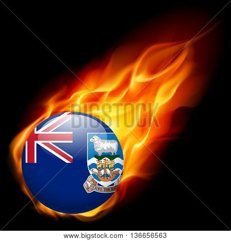 Flag of Falkland Islands as round glossy icon burning in flame