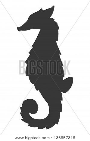 simple flat design seahorse silhouette icon vector illustration animal