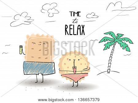 Cute cartoon cookies on vacation . The girl and the guy on the sea . Time to rest. Hand drawn Vector