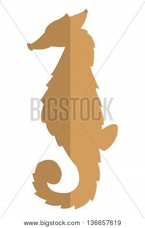 simple flat design seahorse brown silhouette icon vector illustration animal