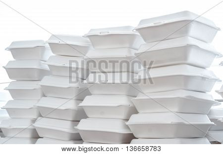 Stacks of foam boxes - environmental problem concept