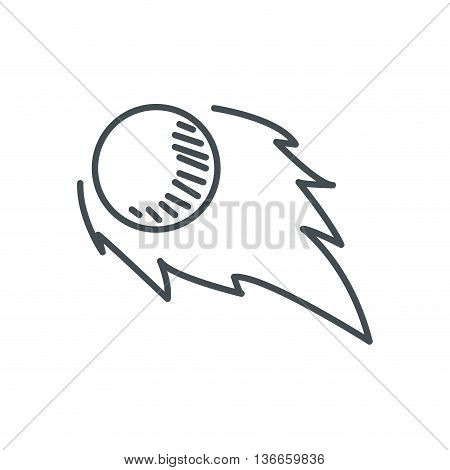 simple line design meteor with flame icon vector illustration