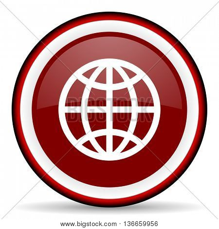 earth round glossy icon, modern design web element