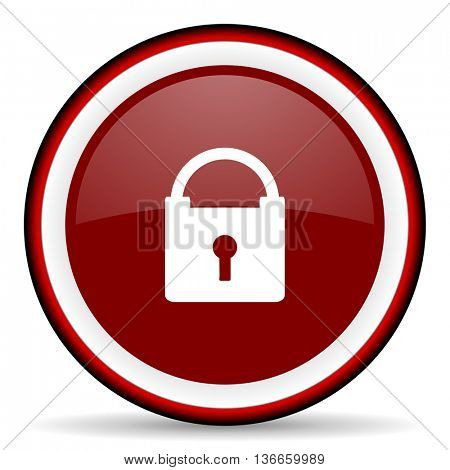 padlock round glossy icon, modern design web element
