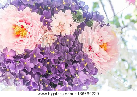 abstract floral background, fresh flowers as decoration
