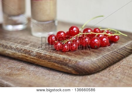 Red Currant On The Background. Branch Of Red Currants. Healthy Eating