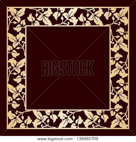 Openwork golden frame with leaves. Laser cutting template for greeting cards envelopes wedding invitations decorative elements.