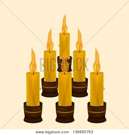 six candles for the holiday. six religious candle wax.