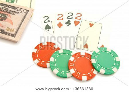 Four Playing Cards, Dollars And Plastic Chips