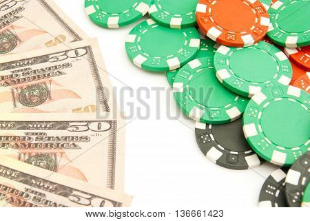 Dollars And Colored Plastic Chips