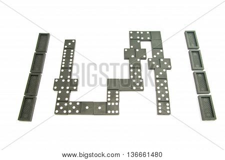 Different Black Dominoes On White