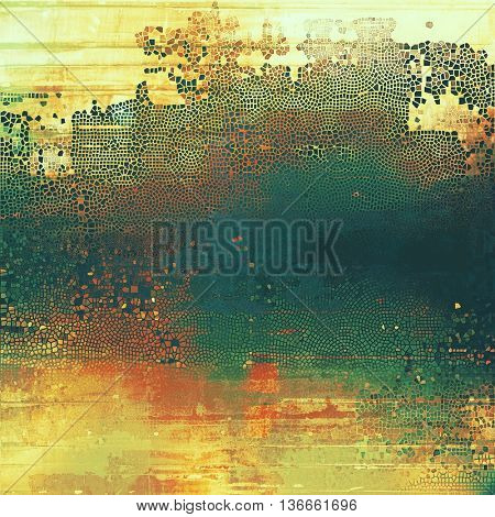 Old background with grunge decorative elements. Retro composition for your design. With different color patterns: yellow (beige); brown; blue; green; red (orange)
