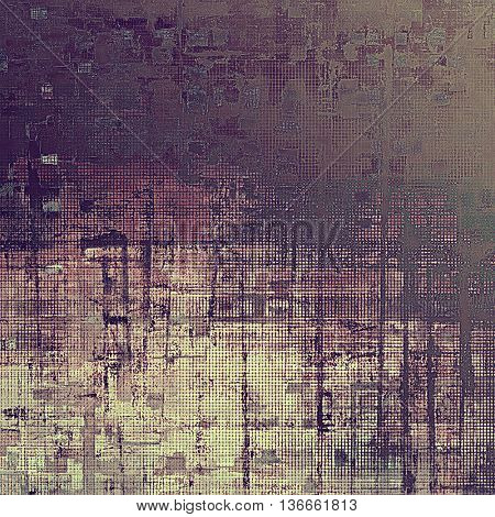 Retro background with vintage style design elements, scratched grunge texture, and different color patterns: yellow (beige); brown; gray; purple (violet); pink