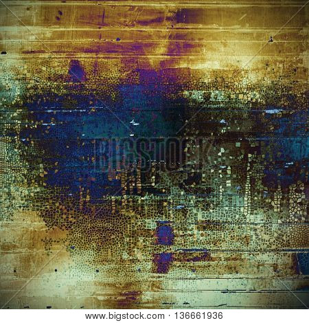 Abstract scratched background or frame with weathered grunge texture. Ancient style backdrop with different color patterns: yellow (beige); brown; gray; black; blue; purple (violet)