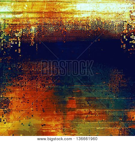 Vintage elegant background, creased grunge backdrop with aged texture and different color patterns: yellow (beige); brown; blue; red (orange); cyan