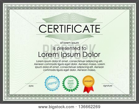 Certificate diploma template for banking documents, guilloche security surface