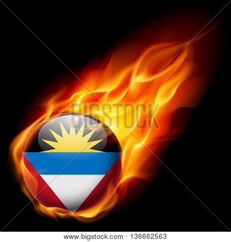 Flag of Antigua and Barbuda as round glossy icon burning in flame