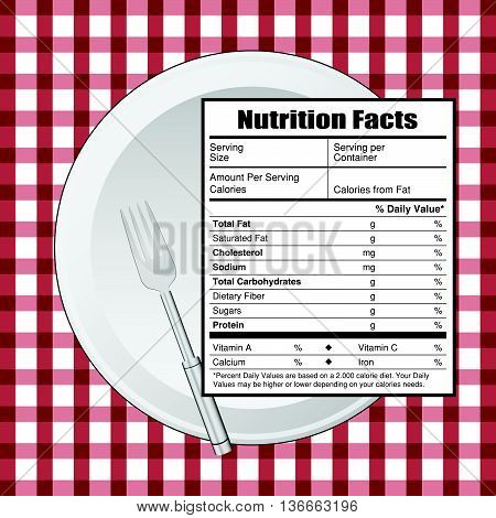 nutrition facts on table color vector art illustration