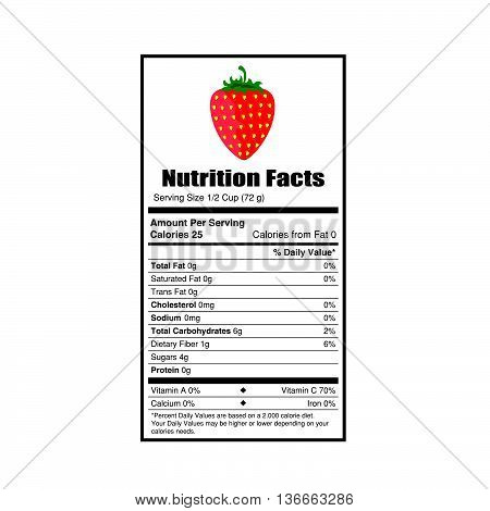 nutrition facts strewsberry value illustration on white