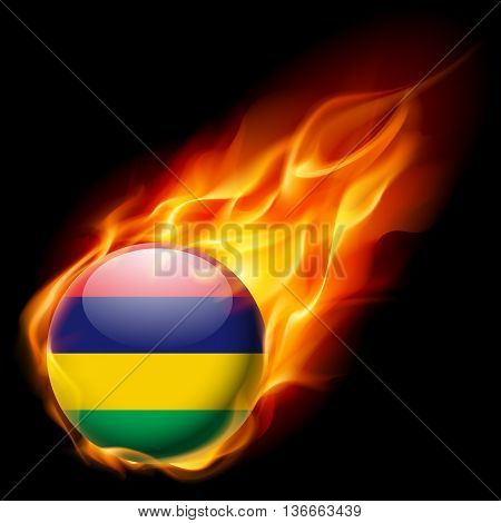 Flag of Mauritius as round glossy icon burning in flame