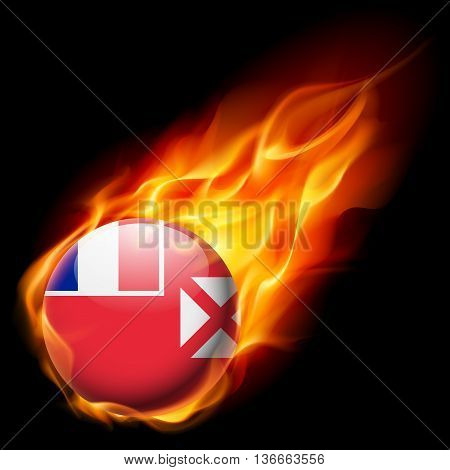 Flag of Wallis and Futuna as round glossy icon burning in flame