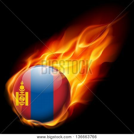 Flag of Mongolia as round glossy icon burning in flame
