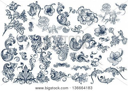 Big collection of high detailed vector swirls and flowers hand drawn in vintage style