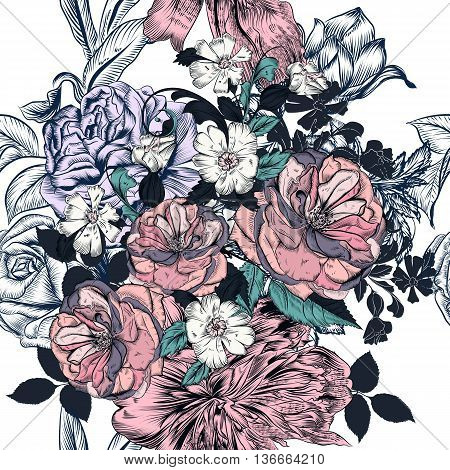 Elegant seamless floral pattern with roses and peony flowers in vintage style
