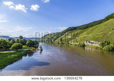 Famous Moselle Landscape With Ferry In Trittenheim
