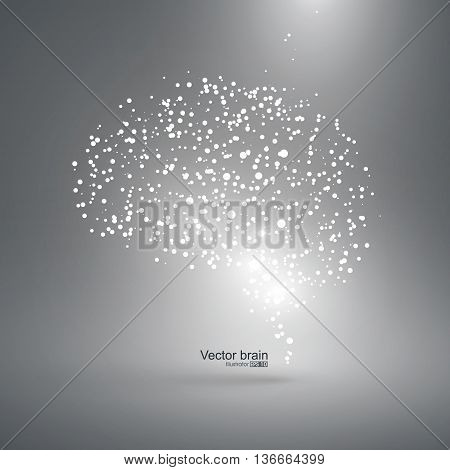 Abstract brain graphic, particles constituting, vector illustration.