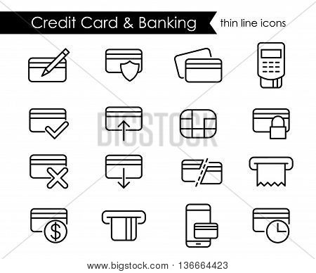 Credit card and e-commerce thin line icon set, black outline style symbols for desktop and mobile interfaces