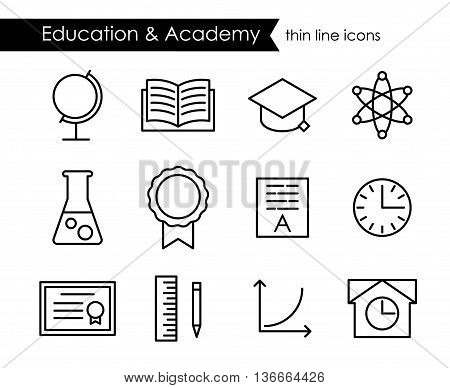 Education and academy thin line outline icons, elementary school, college and university, editable stroke
