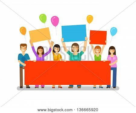 Holiday. Happy birthday. Corporate party, celebration, festival vector icon. Friends with a congratulatory banner in hands