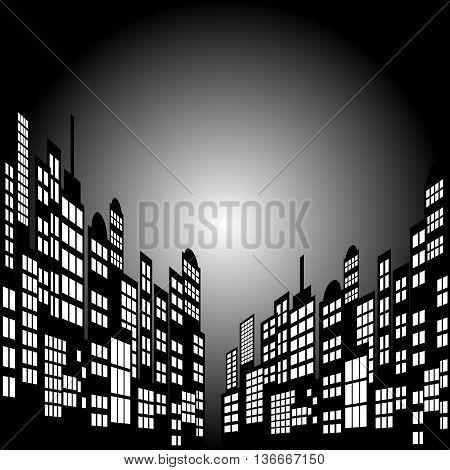 Style Cartoon Night City Skyline Background. Vector Eps 10