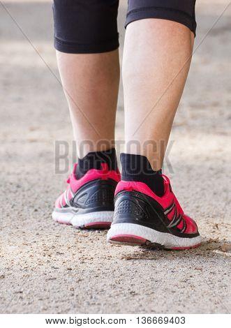 Elderly Senior Woman Walking On Hiking Trail, Sporty Lifestyles In Old Age