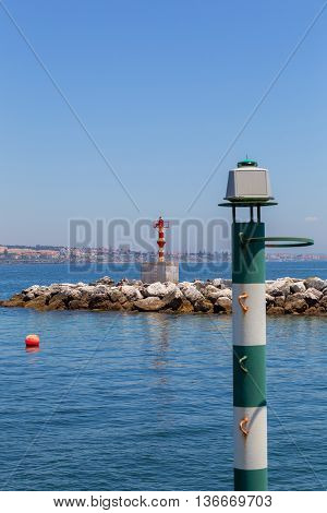 Navigation Baken On Coast A Sea