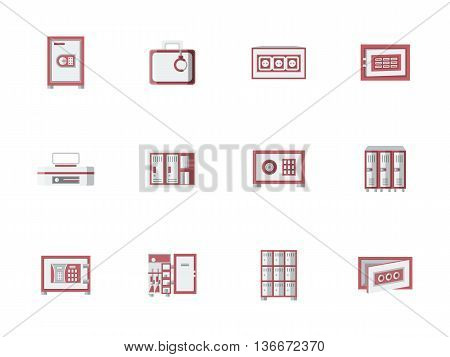 Metallic cabinets, lockers and safes with red elements. Storage equipment for office, public places, banking objects. Things safety guarantee. Set of colored flat style vector icons.