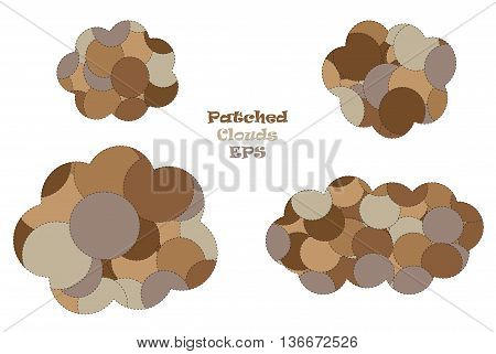 Patched clouds isolated over white background vector illustration. Clouds outline vector set