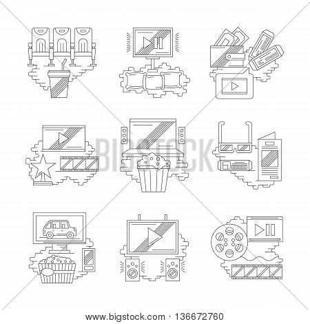 Movie and cinema industry. Film production, premiere, cinema hall elements. Modern entertainments concept. Set of detailed flat line vector icons. Web design elements.