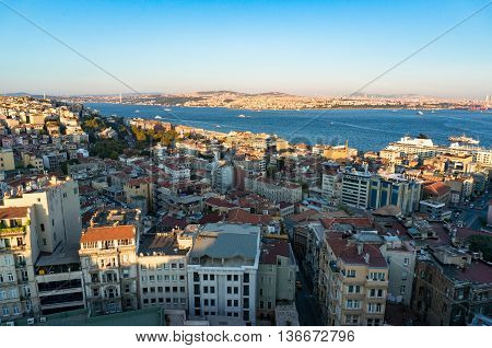 Aerial view of Istanbul Turkey. Modern megalopolis cityscape at dusk